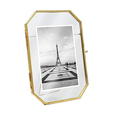 Isaac Jacobs 5x7, Antique Gold, Vintage Style Octagon Brass and Glass, Metal, Floating Desk Photo Frame (Vertical), with Locket Closure for Pictures Art, More (5x7)