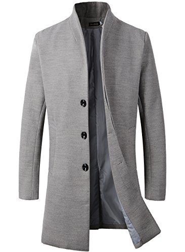 Men's Trench Coat Winter Long Jacket Button Closer Overcoat (XL, Grey)