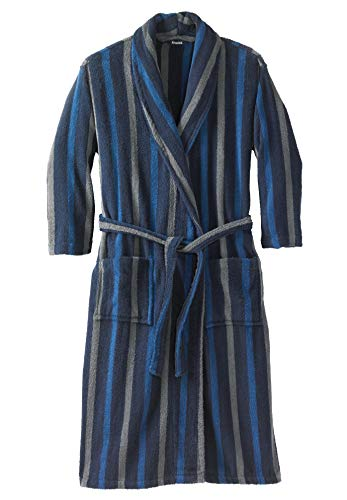 - KingSize Men's Big & Tall Terry Bathrobe with Pockets, Navy Stripe Tall-4Xl/5X