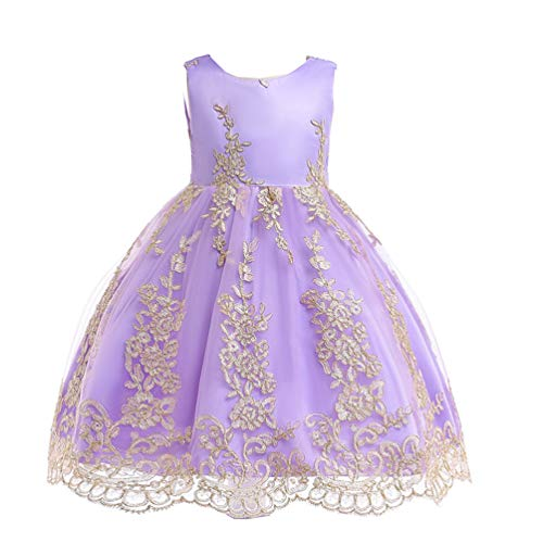 JIANLANPTT Flower Girls Dresses Appliques Embroidered Lace Floral Wedding Party Birthday Dress Light Purple 4-5Years