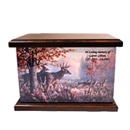 Cremation Urn, Wood funeral Urn, Hunter's Urn, Elk, Deer Hunting Wooden Urn with Engraving Deer Hunting Engraving