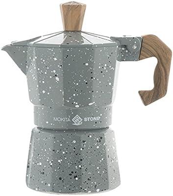 HOME Mokita Stone Cafetera con Mango 1 Taza, Aluminio, Gris/Marone ...
