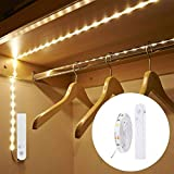 Motion Activated Bed Light, Flexible LED Strip Motion Sensor Night Light -Stick Anywhere, Automatic Shut Off Timer- for Bedroom, Under Cabinet, and Closets-Warm White (Battery Operated)