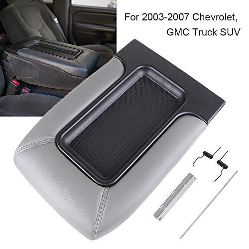 LUJUNTEC Center Console Armrest Latch Lid Repair Kit fits 01-07 GMC Sierra Chevrolet Silverado Lid Armrest Lid Kit Grey