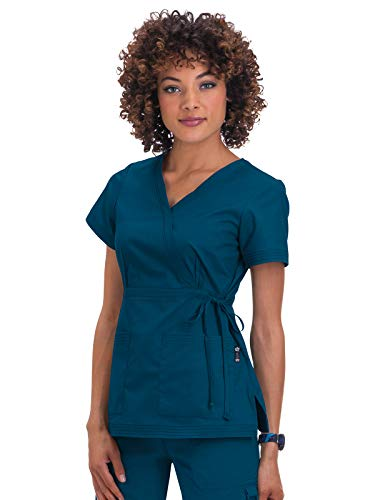 (KOI Women's Katelyn Easy-fit Mock-wrap Scrub Top with Adjustable Side Tie, Caribbean, Small)