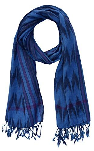 Cotton Ikat Scarf: Blue