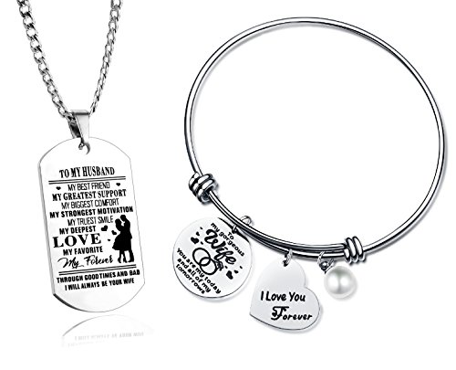 C&L Gift to Love Husband and Wife Memory Gifts,Personalized Engraved to My Husband Dog Tags and Bracelet for Women