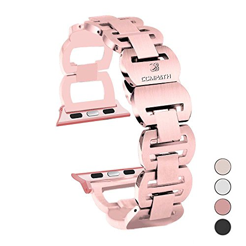 COMPATH for Apple Watch Band 38mm, Adjustable elliptical style Stainless Steel Wristband Link Bracelet Replacement Metal Watch Band for Apple Watch iWatch Sport Edition Series 3/2/1(38mm-Rose Gold) by COMPATH
