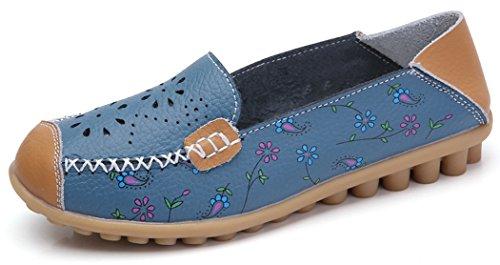 Forucreate Kvinnor Blomtryck Loafers Blå