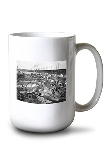 Terminal Fishermens - Lantern Press Fishermen's Terminal at Salmon Bay Photograph (15oz White Ceramic Mug)