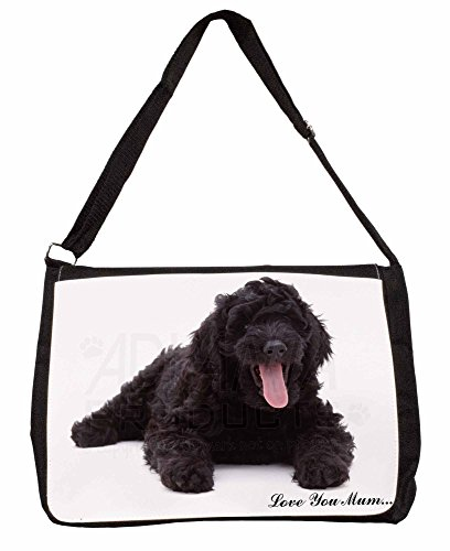Black Labradoodle Love You Mum Large 16 Black School Laptop Shoulder Bag