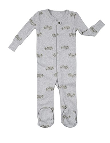 Robeez Baby Boys 1-Piece Cotton Modal Footed Sleeper, Heather Grey Adventure, 12 Months
