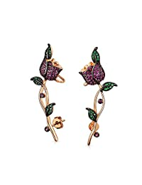 Bling Jewelry Rose Gold Plated Simulated Pink Ruby Simulated Green Emerald Rose Flower Ear Crawler Earrings