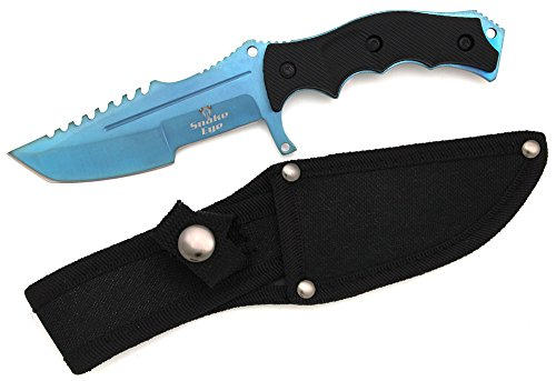Snake Eye Tactical Black Full Tang Fixed Blade Combat Style Knife 8.5