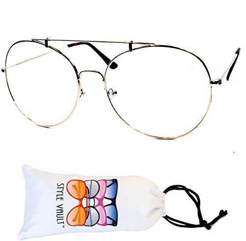 E3082 Oversize Metal Round Aviator Clear lens Glasses Sunglasses (gold, - Glasses 50s Mens