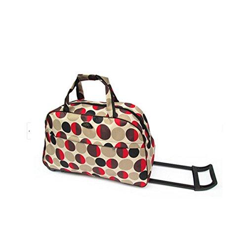 OURBAG Travel Waterproof Luggage Duffel Bag Trolley Wheel Folding Bag Multi-Pattern Red Medium