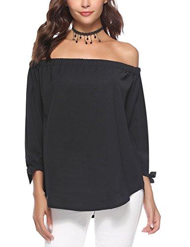 3/4 Cuff Sleeve Shirt - Abollria Women Blouse Off Shoulder Elegant Shirts 3/4 Sleeve Tie Cuff Sexy Tee Tops Black