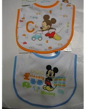 Disney Baby Mickey Mouse Baby Bib ~ 2 pc Set