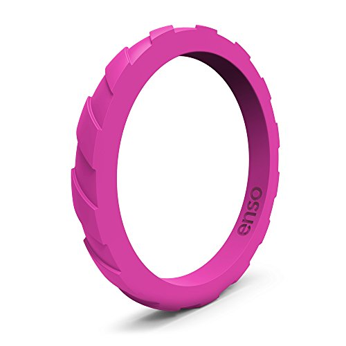 - Enso Treaded Silicone Ring, Functional Wedding Ring for The Gym, Sports, Outdoors and Everyday Life. Fuchsia 10