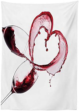 ABAKUHAUS Vino Mantele, En Forma de corazón derramar el Vino, Resistente al Agua Lavable Colores No Destiñen Personalizado, 140 x 170 cm, Borgoña Rosa Blanco