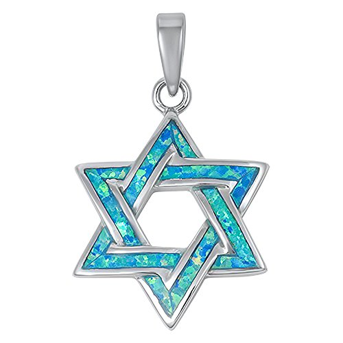 Lab Created Opal Star of David .925 Sterling Silver Pendant Blue or White (Lab Created Blue Opal) (Star Diamond Silver Sterling Necklace)