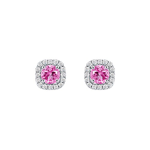 5mm CZ Simulated Pink Sapphire Screw Back Cushion Shape Halo Stud Earrings For Women Girls White Gold Over