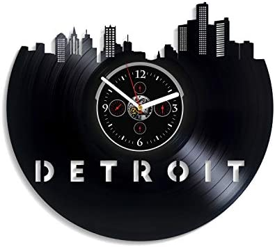 Kovides Detroit City Wall Clock Vintage Vinyl Record Retro Wall Clock Detroit City Art Wall Clock 12 Inch Detroit City Birthday Gift Detroit City Gift New Year Gift USA City Home Decor