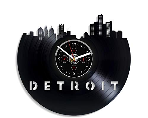 (Kovides Detroit City Wall Clock Vintage Vinyl Record Retro Wall Clock Detroit City Art Wall Clock 12 Inch Detroit City Birthday Gift Detroit City Gift New Year Gift USA City Home Decor)