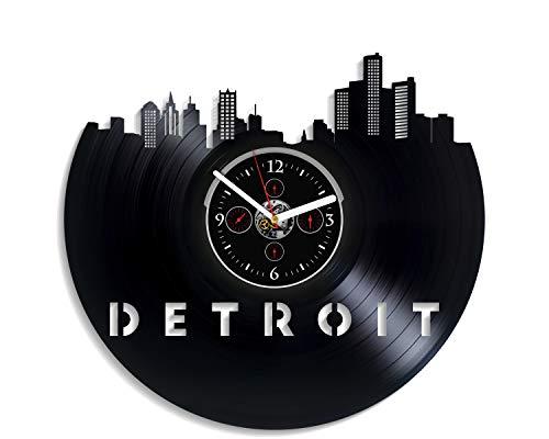 Kovides Detroit City Wall Clock Vintage Vinyl Record Retro Wall Clock Detroit City Art Wall Clock 12 Inch Detroit City Birthday Gift Detroit City Gift New Year Gift USA City Home Decor