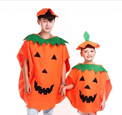 URToys 2Pcs Party Supplies Cosplay Halloween Pumpkin Costume Adult And Child Clothes Hat Suit For Family Halloween Decoration ()