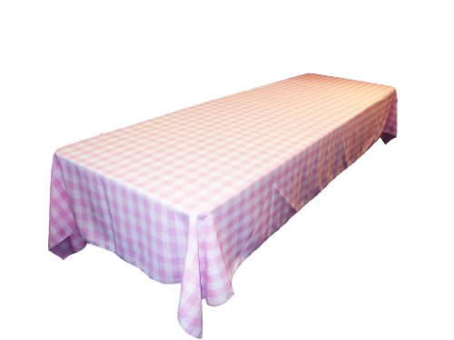"LA Linen Polyester Gingham Checkered Rectangular Tablecloth, White/Pink, 60"" x 84"""