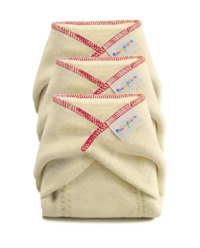 BabyKicks Prefold Diaper, Large, Natural, 3-Pack AMZ1008 K7-Q5JX-4GOY