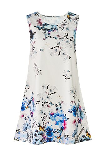 Mini Beach Dress Short Women Dress Blue Boho Sleeveless Floral Floral Summer Sundress Casual qwxaxf8