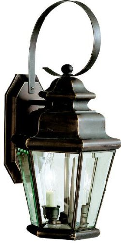 - Kichler 9676OZ, Savannah Estates Solid Brass Outdoor Wall Sconce Light, 120w, Olde Bronze