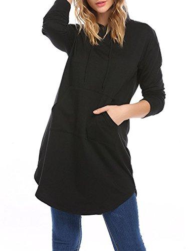 Locryz Women's Long Sleeve Casual Tunic Sweatshirt Hoodie Dress with Pockets (XXL, Black) (Long Length Sweaters To Wear With Leggings)