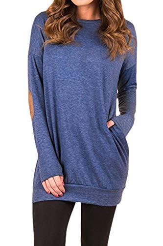 Kisscynest Women's Long Sleeve Round Neck Faux Suede Patchwork Tunic Sweatshirt Dress Blouse Tops (L, Royal Blue) ()