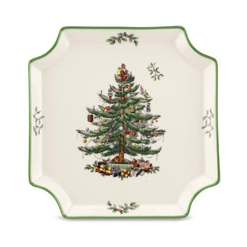 Spode christmas tree square canape plate home garden for Christmas canape plates
