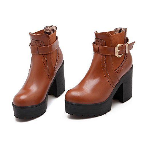 Allhqfashion Women's Low-top Solid Pull-on Round Closed Toe High-Heels Boots Brown VYVaVoGxD