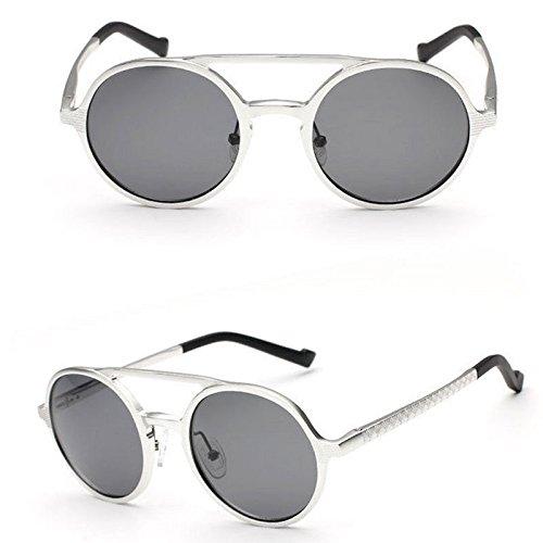Gafas De De White Gafas Marco Unisex De De Vintage Black UV Magnesio De Gafas Aluminio Protección GUOHONG De Sol Sol Moda Lentes Polarizadas Redondo Casual De Sol dOTxFzqw