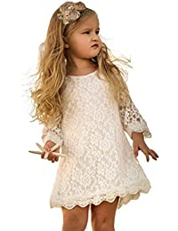 Flower Girl Lace Dress Country Dresses with sleeves 1-6 7-16