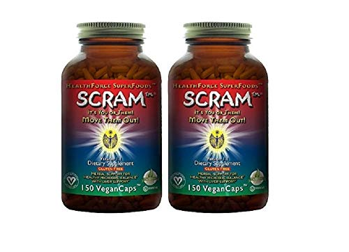 HealthForce SuperFoods Scram - 150 Vegan Capsules - All Natural Internal Parasite Cleanse, Anti Fungal, Anti Yeast - Non GMO, Organic, Gluten Free - 2 Pack