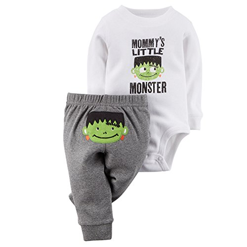 [Carter's Baby Boys' Halloween 2-piece Bodysuit & Pant Set (9 Months, White/Grey)] (Boys Frankenstein Costumes)