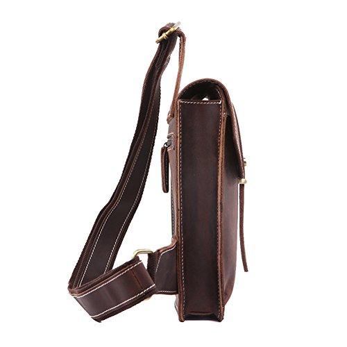 Modelshow Echtes Leder Daypacks Tasche Handtasche Umhängetasche Brusttasche Für Herren