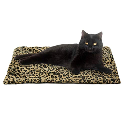 Furhaven Pet Dog Bed Heating Pad   ThermaNAP Quilted Faux Fur Insulated Thermal Self-Warming Pet Bed Pad for Dogs & Cats, Leopard Print, Small