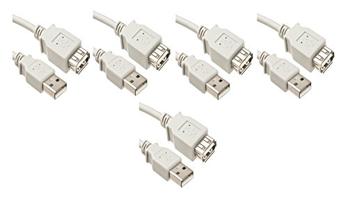 UPC 638170463495, C&E 5 Pack USB 2.0 A Male to A Female Extension Cable 3 Feet White, CNE463495