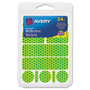 Avery Dennison 19775 Permanent Self-Adhesive Reflective Stickers, Assorted, 24/Pack