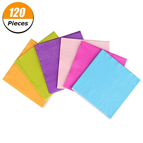 Xinzistar 120 Pieces Cocktail Beverage Napkins 2 Ply for Party Favors, 6 Colors -