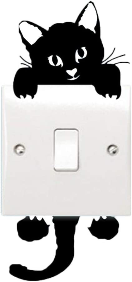 Alicemall Cute Black Cat Light Switch Removable Sticker Funny PVC Removable Wall Sticker Cartoon Wall Decal for Living Room, 14cm x 6 cm