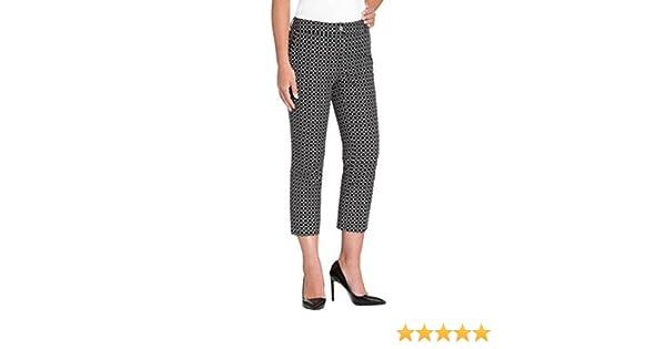 Hilary Radley Womens Stretch Slim Leg Crop Pant 14, Black//Ivory
