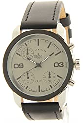 Croton Men's Black Leather Chronograph Casual Watch SP399190BSGY